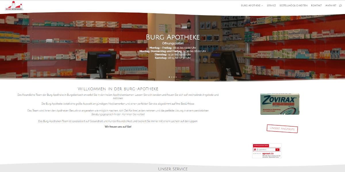 Webseite Apotheke Ansbach