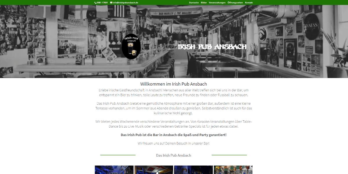 Webseite Irish Pub Ansbach